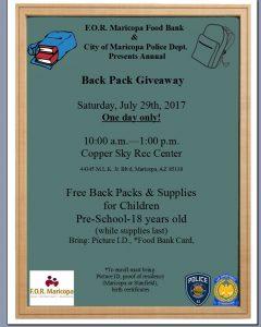 Back Pack Giveaway flyer