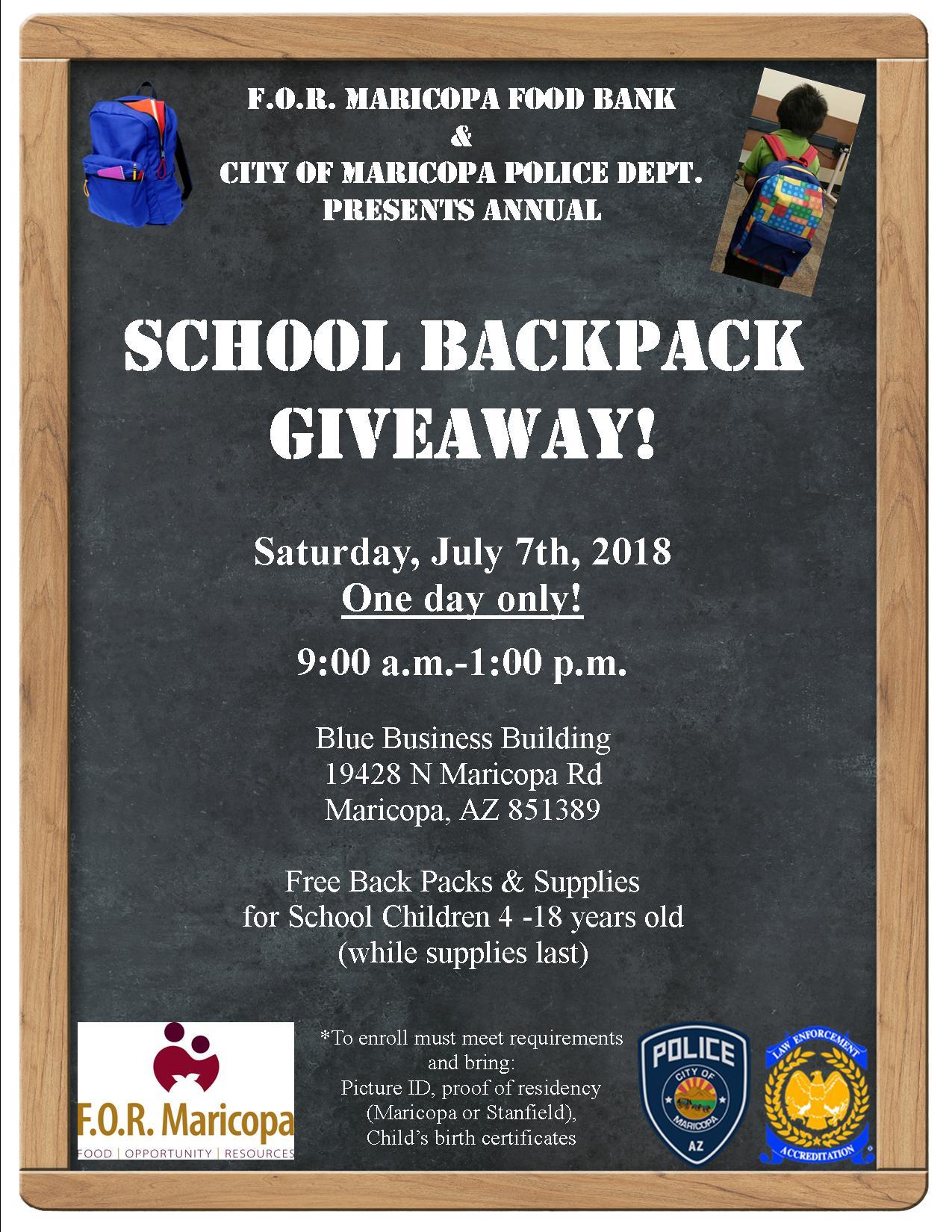 school backpack giveaway f o r maricopa